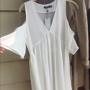 Sheer White Cold Shoulder Sun Dress